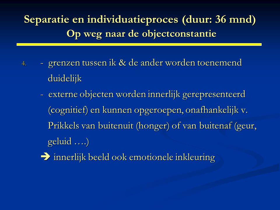 Separatie en individuatieproces (duur: 36 mnd) Op weg naar de objectconstantie 4. - grenzen tussen ik & de ander worden toenemend duidelijk - externe