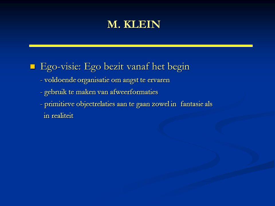 M. KLEIN Ego-visie: Ego bezit vanaf het begin - voldoende organisatie om angst te ervaren - gebruik te maken van afweerformaties - primitieve objectre