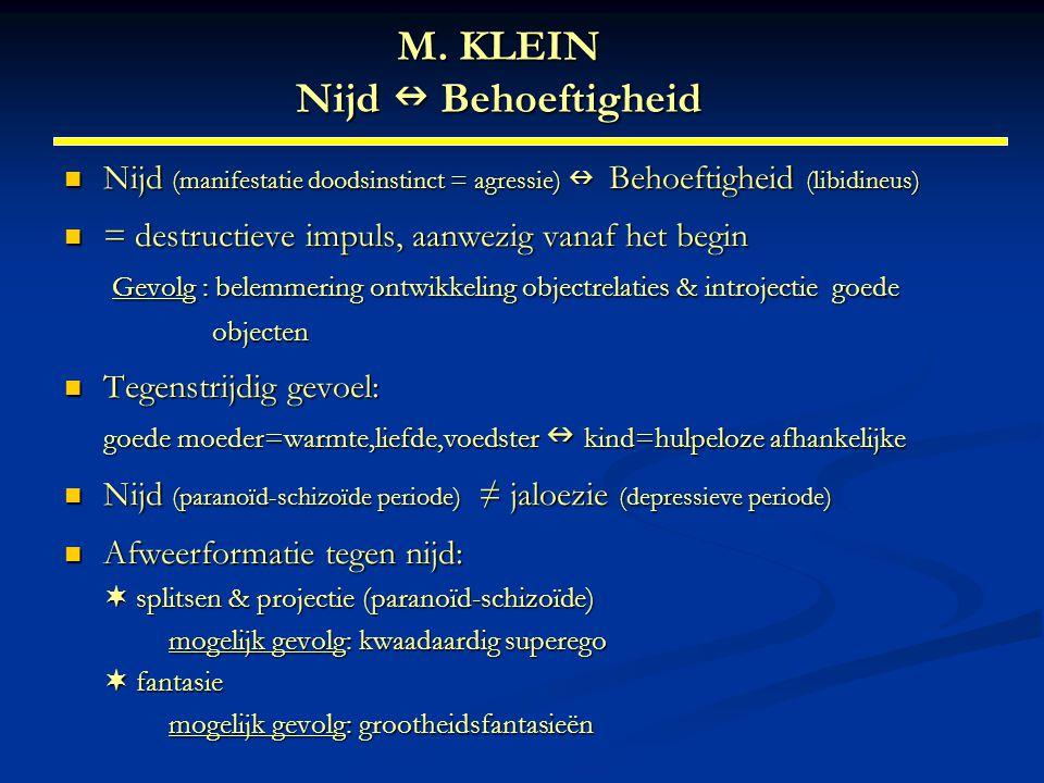 M. KLEIN Nijd Behoeftigheid Nijd (manifestatie doodsinstinct = agressie) Behoeftigheid (libidineus) Nijd (manifestatie doodsinstinct = agressie) Behoe