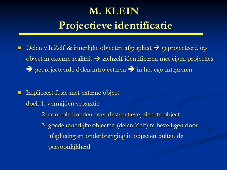 M. KLEIN Projectieve identificatie Delen v.h.Zelf & innerlijke objecten afgesplitst  geprojecteerd op object in externe realiteit  zichzelf identifi