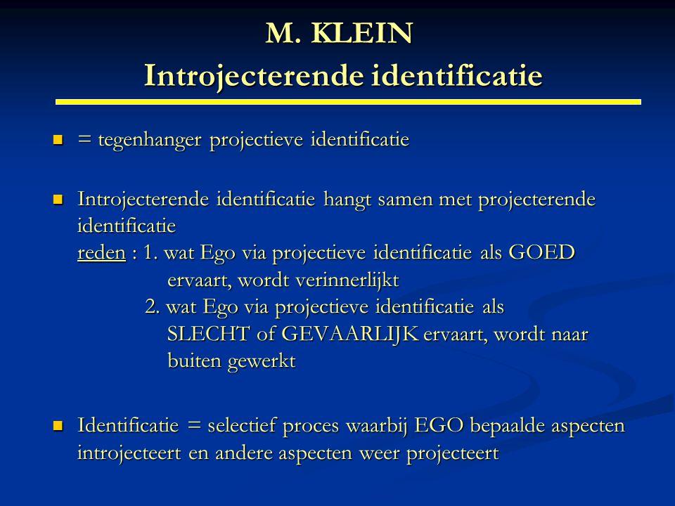 M. KLEIN Introjecterende identificatie = tegenhanger projectieve identificatie = tegenhanger projectieve identificatie Introjecterende identificatie h