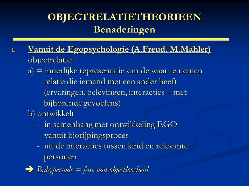 OBJECTRELATIETHEORIEEN Benaderingen 1. Vanuit de Egopsychologie (A.Freud, M.Mahler) objectrelatie: a) = innerlijke representatie van de waar te nemen