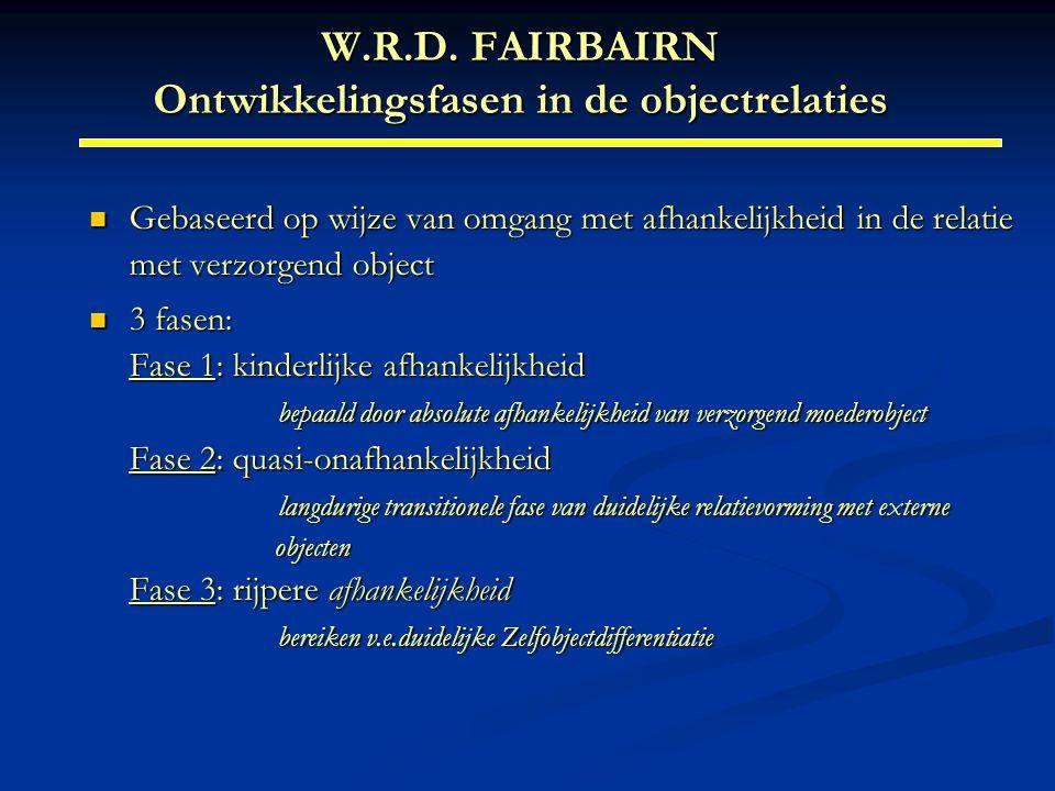 W.R.D. FAIRBAIRN Ontwikkelingsfasen in de objectrelaties Gebaseerd op wijze van omgang met afhankelijkheid in de relatie met verzorgend object Gebasee