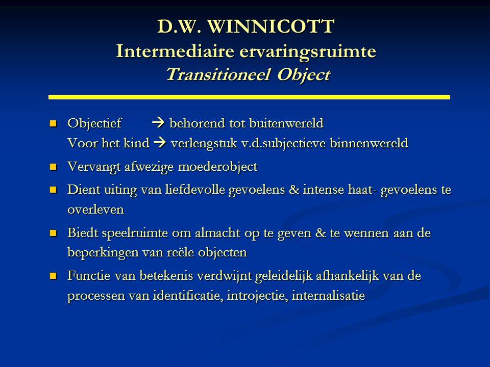 D.W. WINNICOTT Intermediaire ervaringsruimte Transitioneel Object Objectief  behorend tot buitenwereld Voor het kind  verlengstuk v.d.subjectieve bi