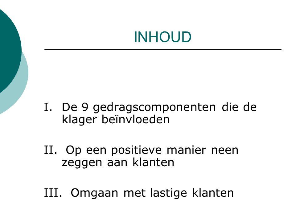 INHOUD I.De 9 gedragscomponenten die de klager beïnvloeden II.