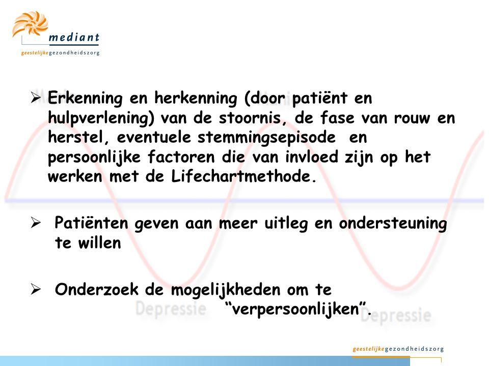  Erkenning en herkenning (door patiënt en hulpverlening) van de stoornis, de fase van rouw en herstel, eventuele stemmingsepisode en persoonlijke fac