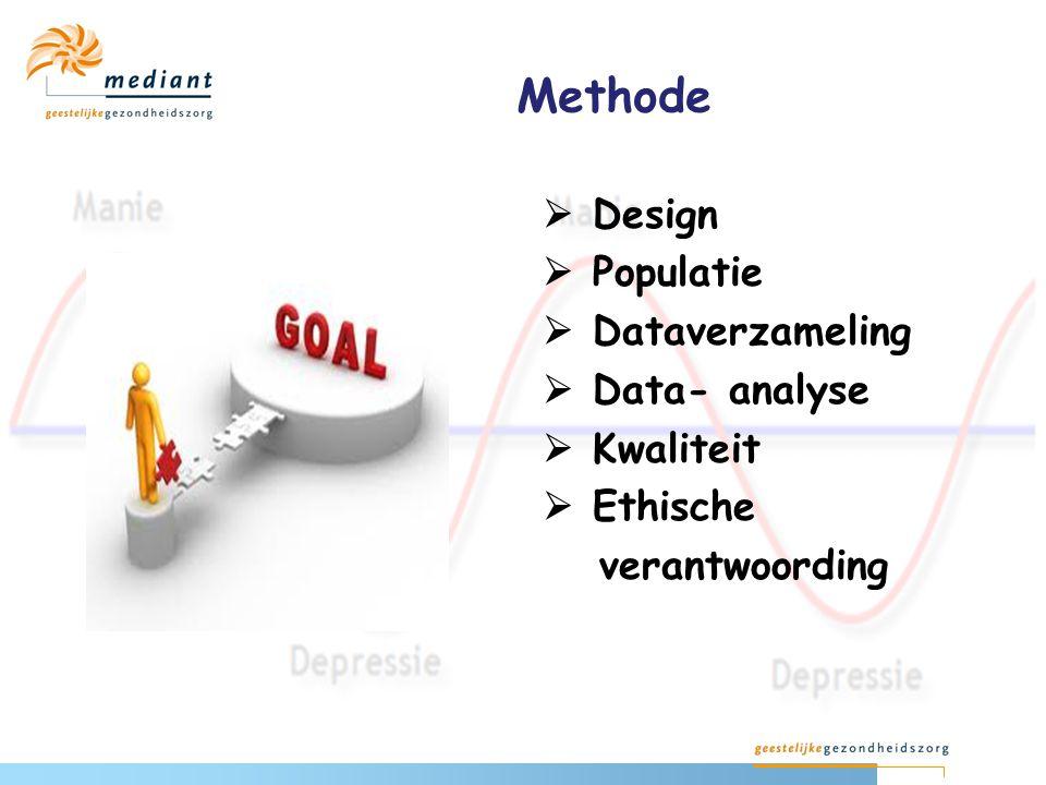 Methode  Design  Populatie  Dataverzameling  Data- analyse  Kwaliteit  Ethische verantwoording