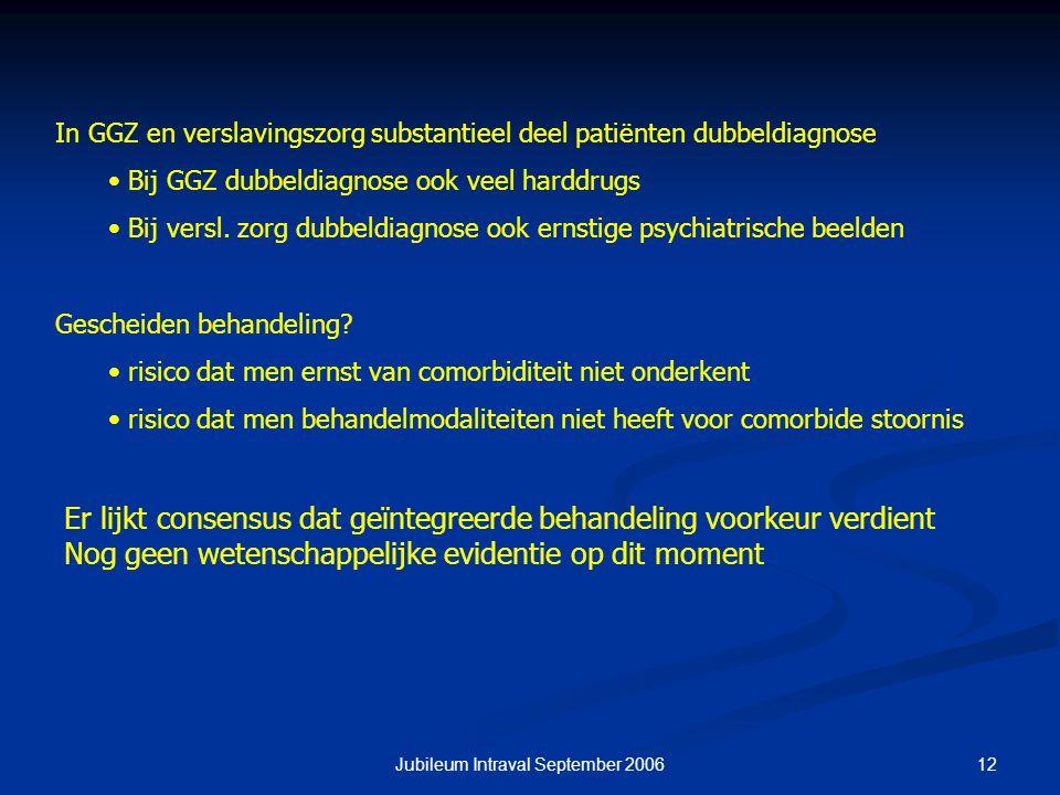 12Jubileum Intraval September 2006 In GGZ en verslavingszorg substantieel deel patiënten dubbeldiagnose Bij GGZ dubbeldiagnose ook veel harddrugs Bij versl.