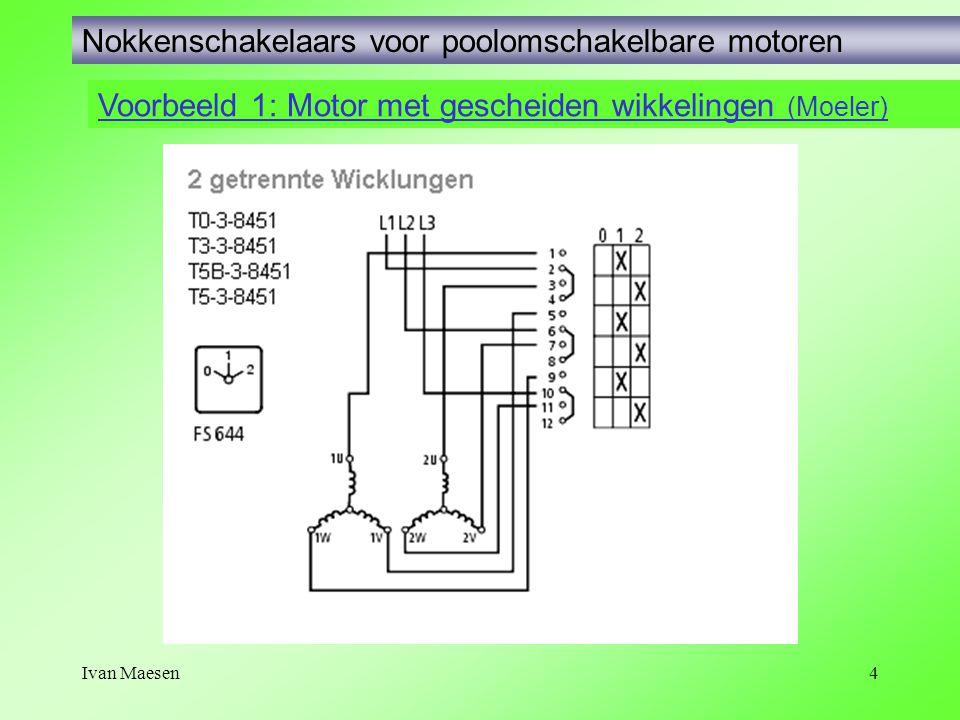 Ivan Maesen4 Voorbeeld 1: Motor met gescheiden wikkelingen (Moeler) Nokkenschakelaars voor poolomschakelbare motoren