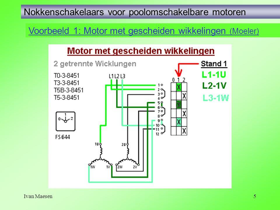 Ivan Maesen5 Voorbeeld 1: Motor met gescheiden wikkelingen (Moeler) Nokkenschakelaars voor poolomschakelbare motoren