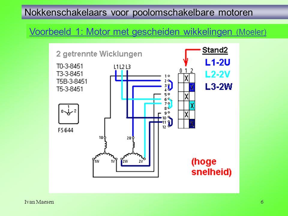 Ivan Maesen6 Voorbeeld 1: Motor met gescheiden wikkelingen (Moeler) Nokkenschakelaars voor poolomschakelbare motoren