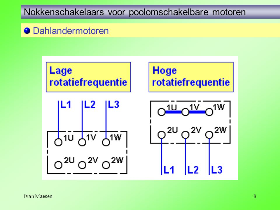 Ivan Maesen8 Nokkenschakelaars voor poolomschakelbare motoren Dahlandermotoren