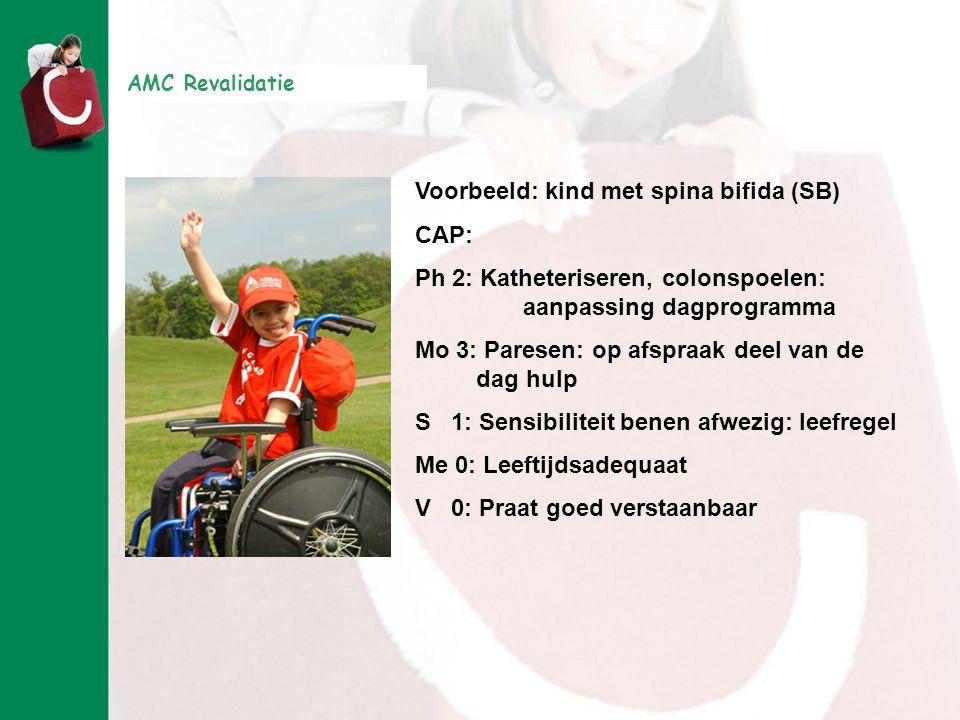 AMC Revalidatie Voorbeeld: kind met spina bifida (SB) CAP: Ph 2: Katheteriseren, colonspoelen: aanpassing dagprogramma Mo 3: Paresen: op afspraak deel