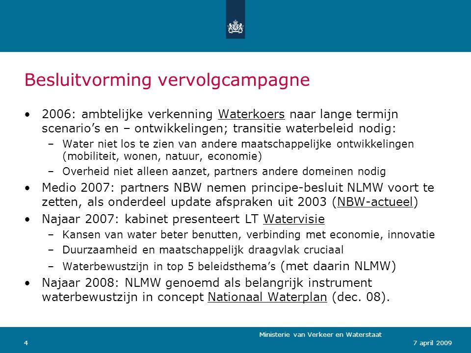 Ministerie van Verkeer en Waterstaat 157 april 2009 Organisatiestructuur Aansturing: staatssecretaris en NWO Operationeel: DG Water (beleidsinhoud), DCO (communicatie), RVD(campagnemanagement) campagneteam (operationeel) HWBP/RvdR/Maaswerken/Kustlijnzorg vertegenwoordigd in campagneteam (samen met overige partners/NWO-partijen) Jaarlijkse landelijke communicatiedag water (2009: 16 juni) en website professionals NLMW als expertise- en supportmedia