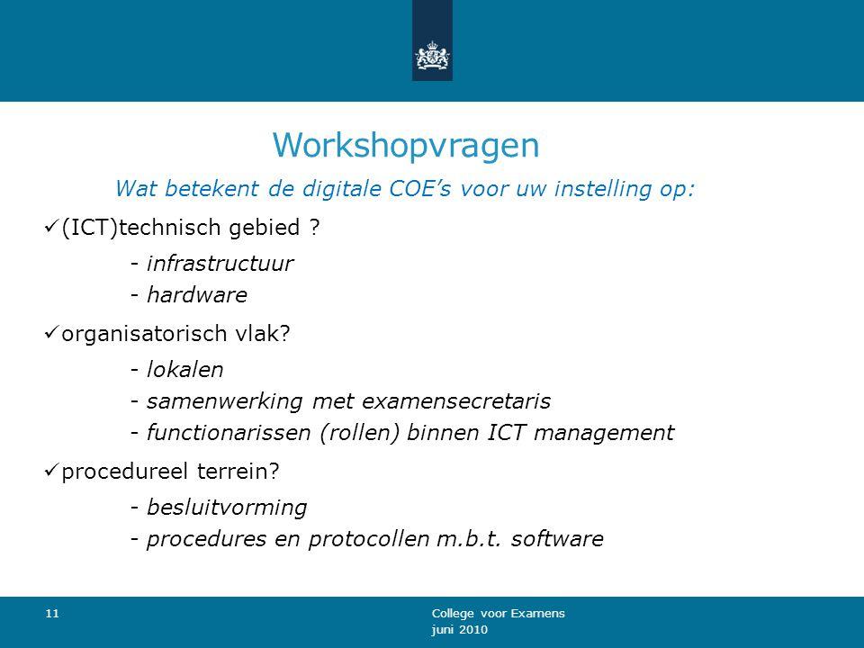 Workshopvragen Wat betekent de digitale COE's voor uw instelling op: (ICT)technisch gebied .