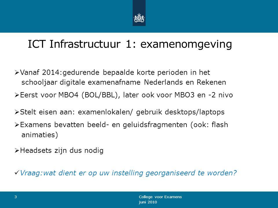 ICT Infrastructuur 2: technische eisen Installatie Examentester 2.8 op de instelling: Per schoollocatie: aparte installatie Examentester 2.8.