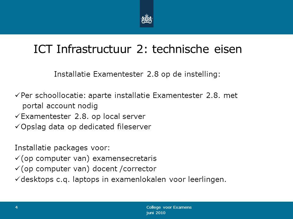 Infrastructuur 3: Installatie Examentester 2.8 Voor het installeren van Examentester 2.8.