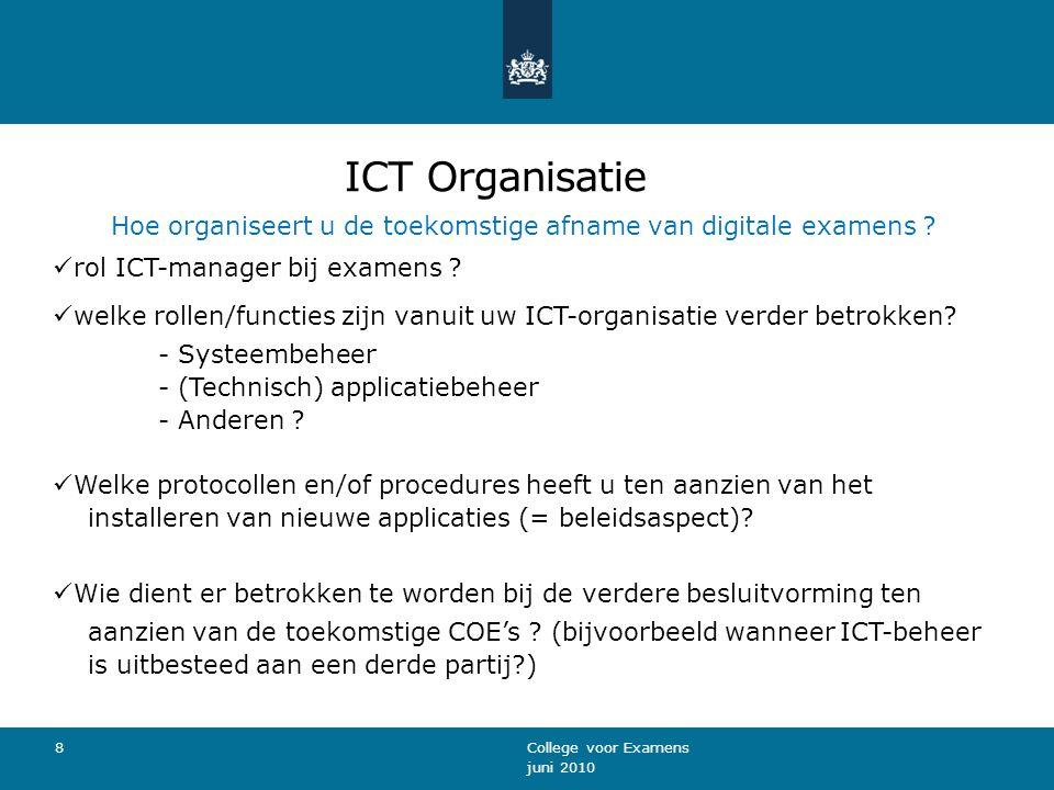 ICT Organisatie Hoe organiseert u de toekomstige afname van digitale examens .