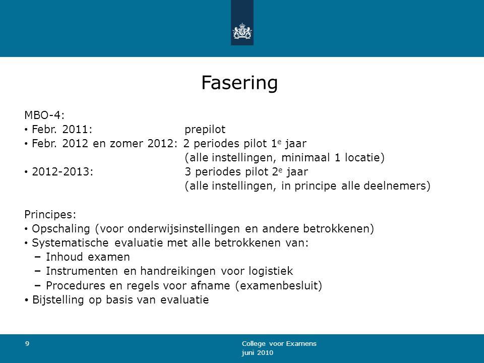 juni 2010 College voor Examens 9 Fasering MBO-4: Febr.