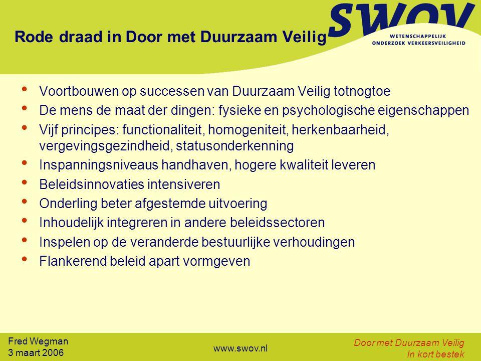 Fred Wegman 3 maart 2006 Door met Duurzaam Veilig In kort bestek www.swov.nl Rode draad in Door met Duurzaam Veilig Voortbouwen op successen van Duurz
