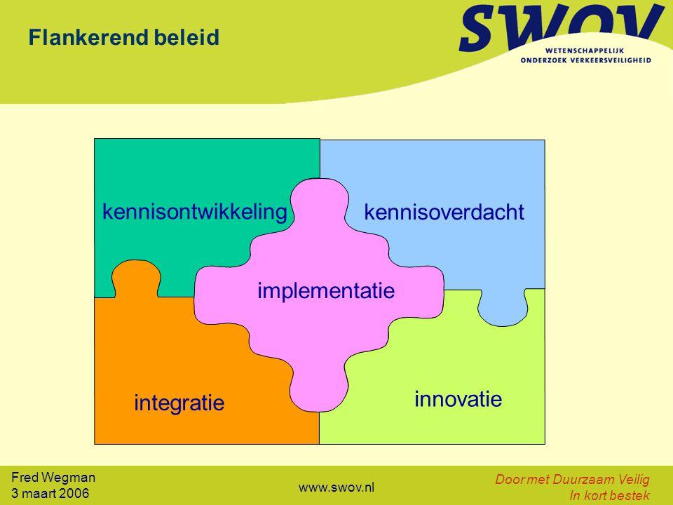 Fred Wegman 3 maart 2006 Door met Duurzaam Veilig In kort bestek www.swov.nl integratie innovatie kennisontwikkeling kennisoverdacht implementatie Fla