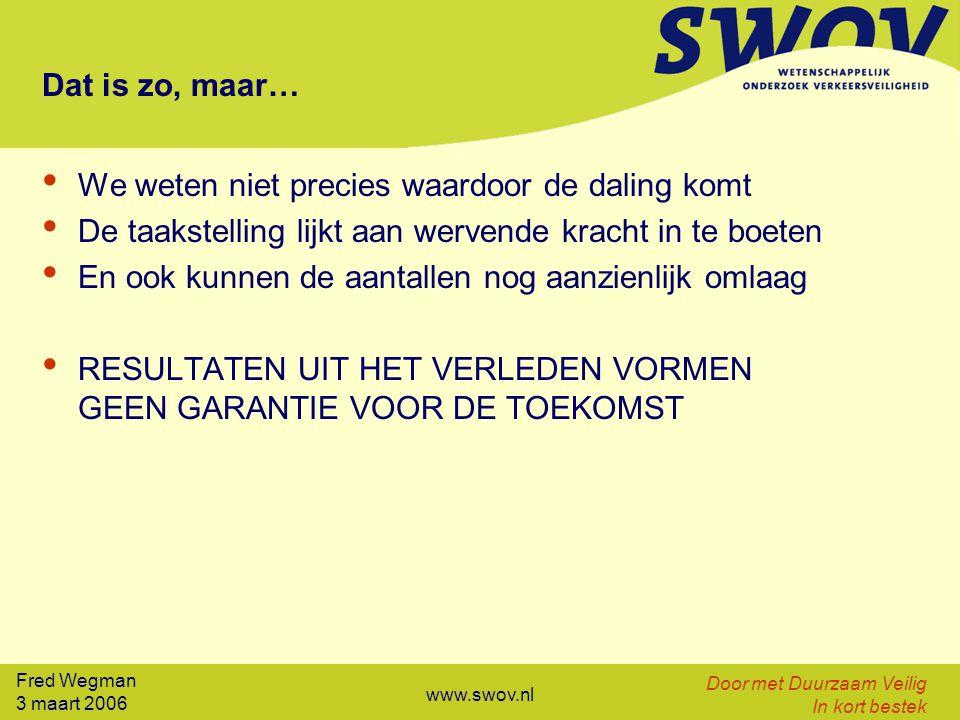 Fred Wegman 3 maart 2006 Door met Duurzaam Veilig In kort bestek www.swov.nl Dat is zo, maar… We weten niet precies waardoor de daling komt De taakste