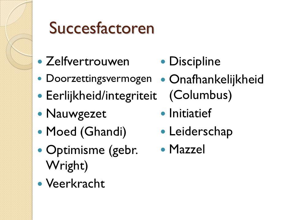 Succesfactoren Zelfvertrouwen Doorzettingsvermogen Eerlijkheid/integriteit Nauwgezet Moed (Ghandi) Optimisme (gebr.