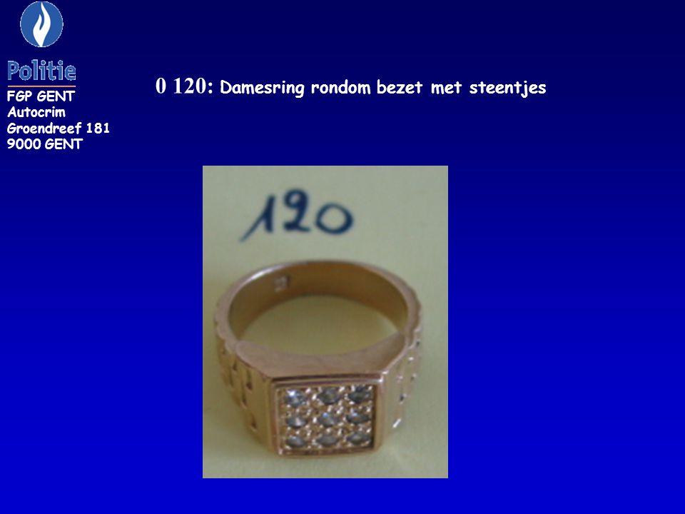 0 120: Damesring rondom bezet met steentjes FGP GENT Autocrim Groendreef 181 9000 GENT