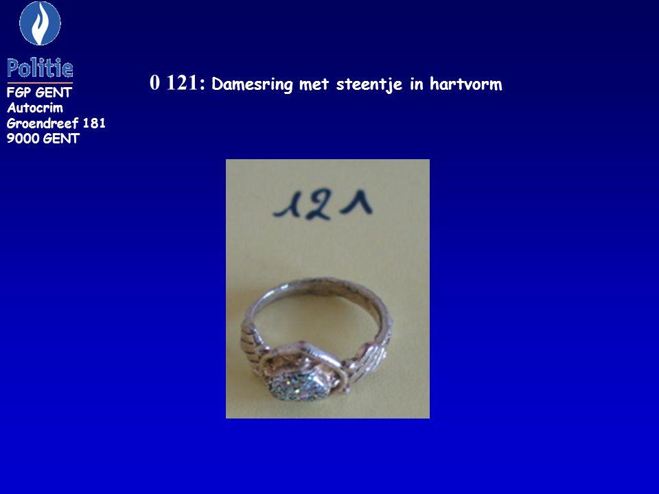 0 121: Damesring met steentje in hartvorm FGP GENT Autocrim Groendreef 181 9000 GENT