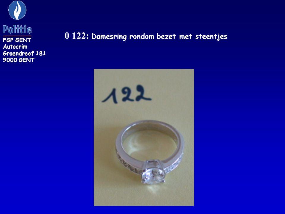 0 122: Damesring rondom bezet met steentjes FGP GENT Autocrim Groendreef 181 9000 GENT