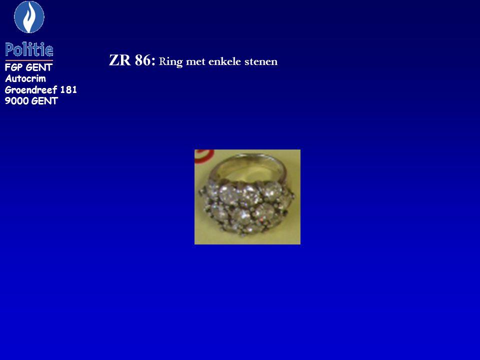ZR 86: Ring met enkele stenen FGP GENT Autocrim Groendreef 181 9000 GENT