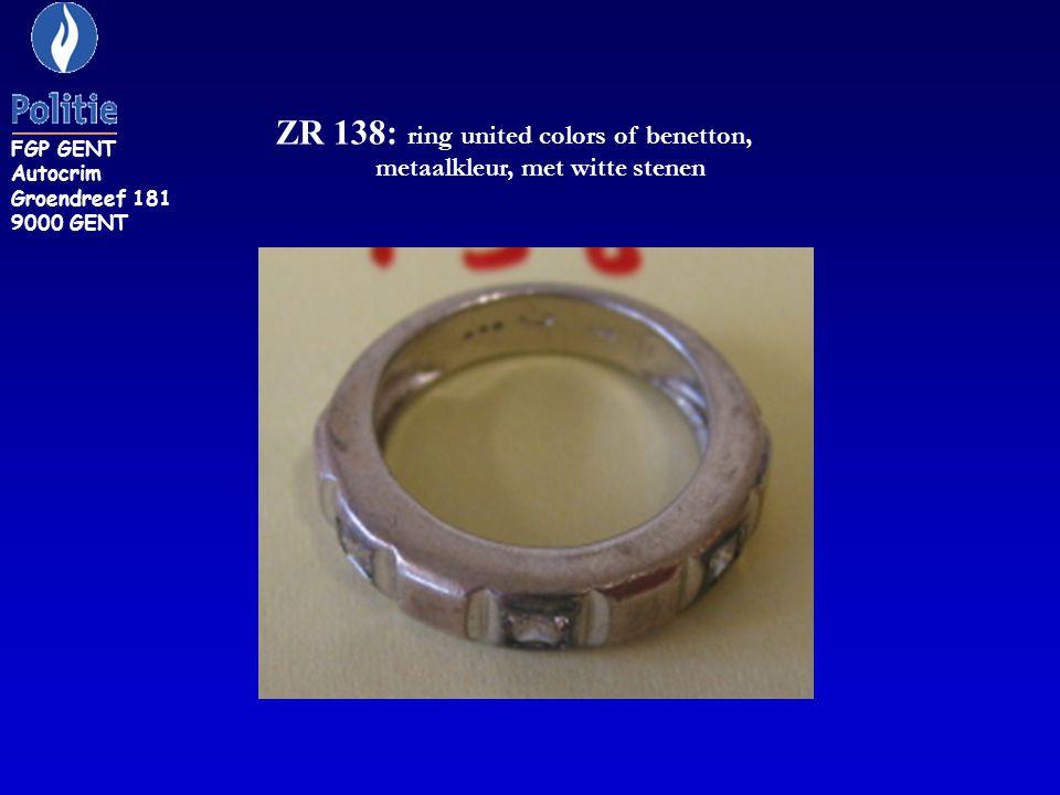 ZR 138: ring united colors of benetton, metaalkleur, met witte stenen FGP GENT Autocrim Groendreef 181 9000 GENT