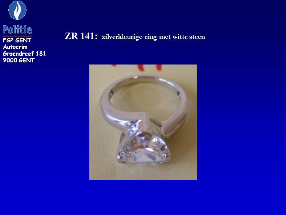 ZR 141: zilverkleurige ring met witte steen FGP GENT Autocrim Groendreef 181 9000 GENT