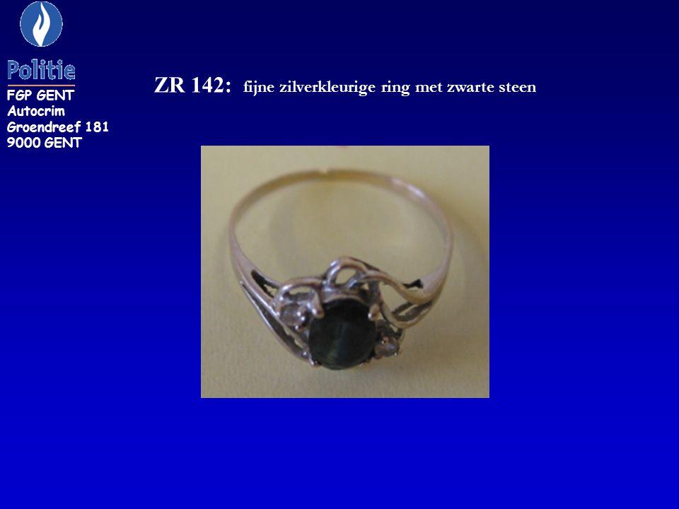 ZR 142: fijne zilverkleurige ring met zwarte steen FGP GENT Autocrim Groendreef 181 9000 GENT