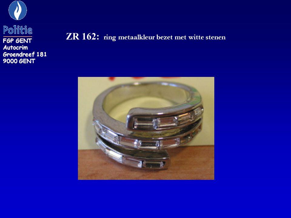ZR 162: ring metaalkleur bezet met witte stenen FGP GENT Autocrim Groendreef 181 9000 GENT