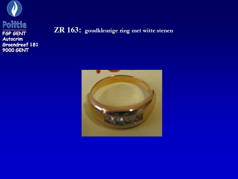 ZR 163: goudkleurige ring met witte stenen FGP GENT Autocrim Groendreef 181 9000 GENT