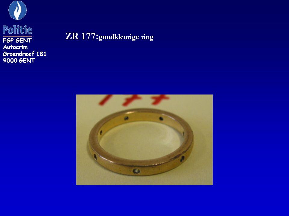 ZR 177: goudkleurige ring FGP GENT Autocrim Groendreef 181 9000 GENT
