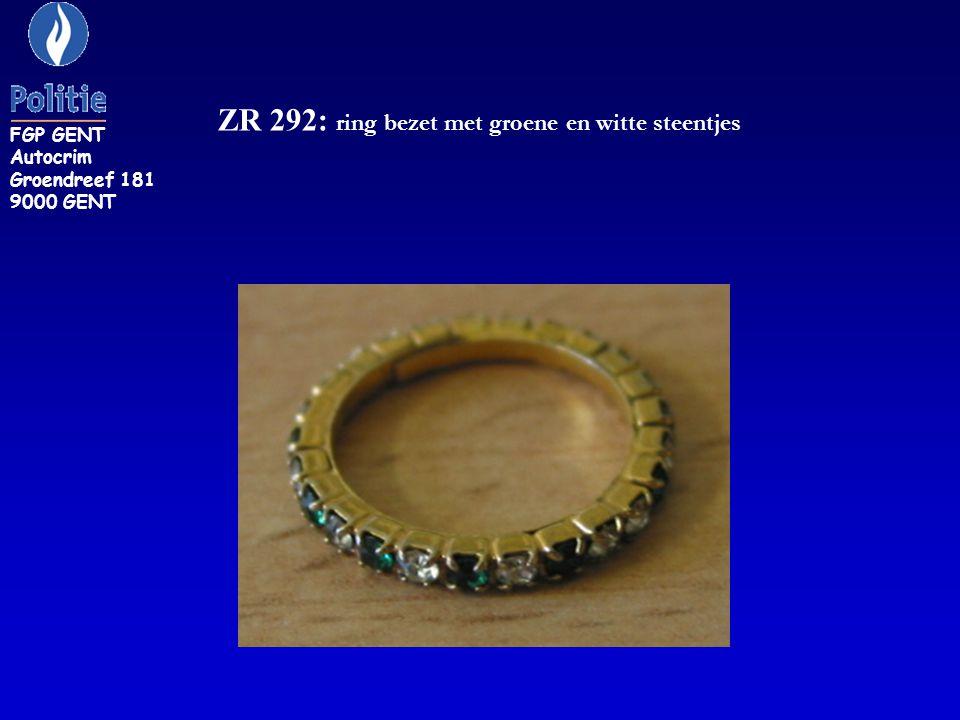ZR 292: ring bezet met groene en witte steentjes FGP GENT Autocrim Groendreef 181 9000 GENT