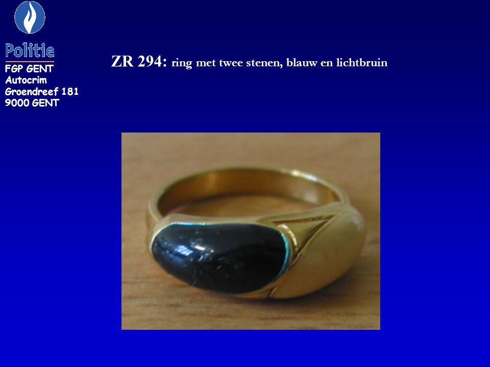 ZR 294: ring met twee stenen, blauw en lichtbruin FGP GENT Autocrim Groendreef 181 9000 GENT