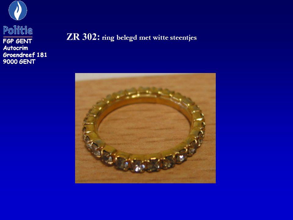 ZR 302: ring belegd met witte steentjes FGP GENT Autocrim Groendreef 181 9000 GENT