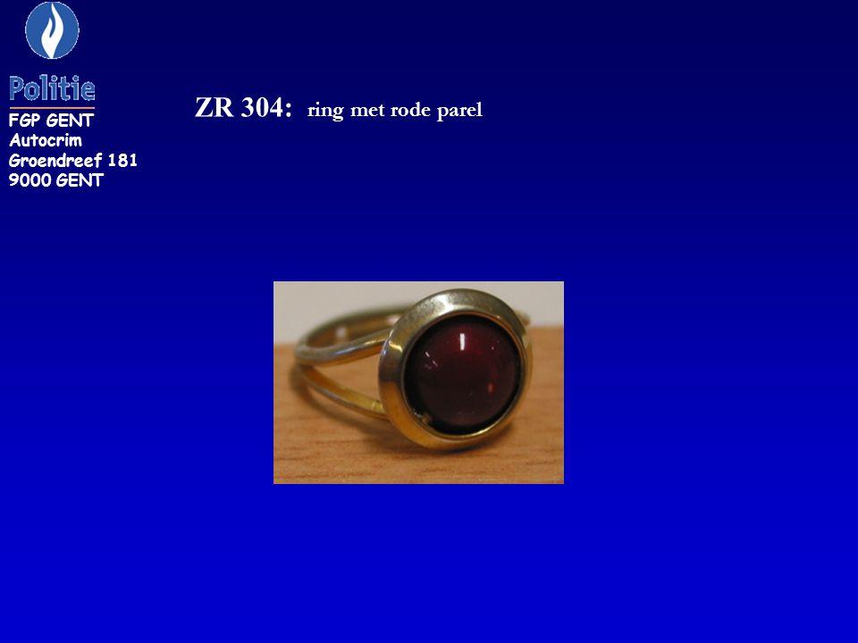 ZR 304: ring met rode parel FGP GENT Autocrim Groendreef 181 9000 GENT