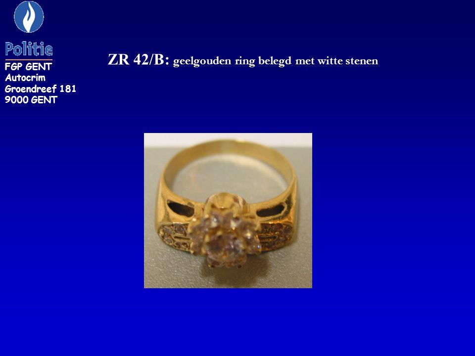 ZR 42/B: geelgouden ring belegd met witte stenen FGP GENT Autocrim Groendreef 181 9000 GENT