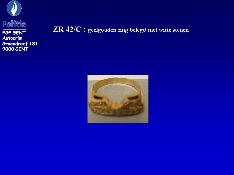 ZR 42/C : geelgouden ring belegd met witte stenen FGP GENT Autocrim Groendreef 181 9000 GENT
