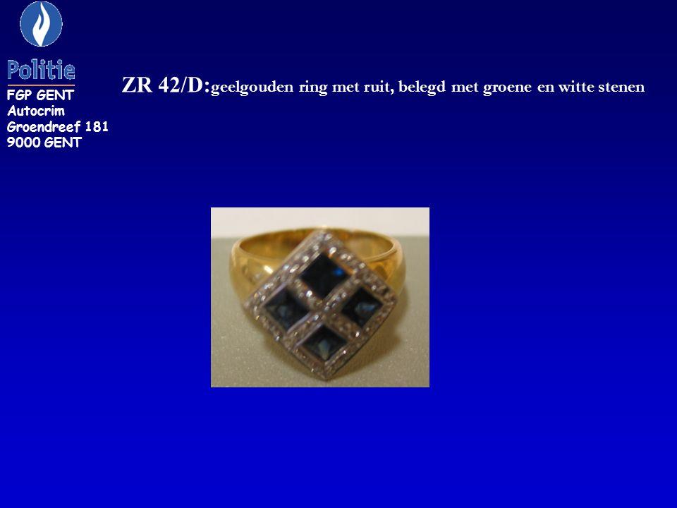 ZR 42/D: geelgouden ring met ruit, belegd met groene en witte stenen FGP GENT Autocrim Groendreef 181 9000 GENT