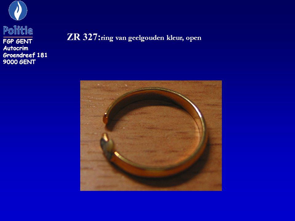 ZR 327: ring van geelgouden kleur, open FGP GENT Autocrim Groendreef 181 9000 GENT