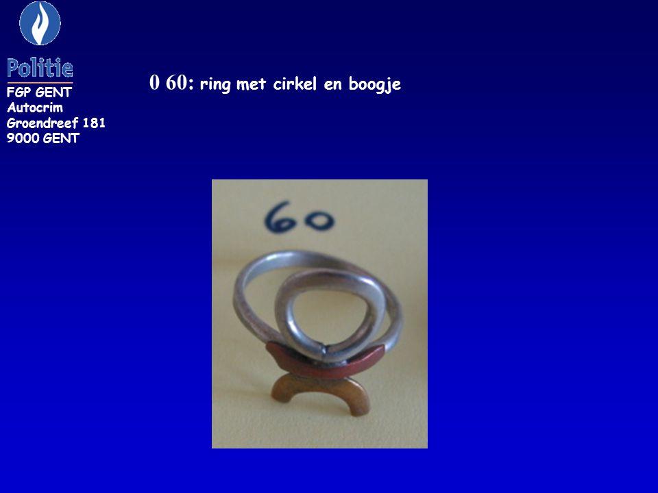 ZR 160: zilverkleurige ring bezet met kleine witte steentjes FGP GENT Autocrim Groendreef 181 9000 GENT
