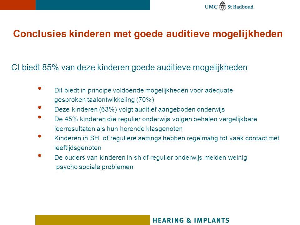 Conclusies kinderen met goede auditieve mogelijkheden CI biedt 85% van deze kinderen goede auditieve mogelijkheden Dit biedt in principe voldoende mog