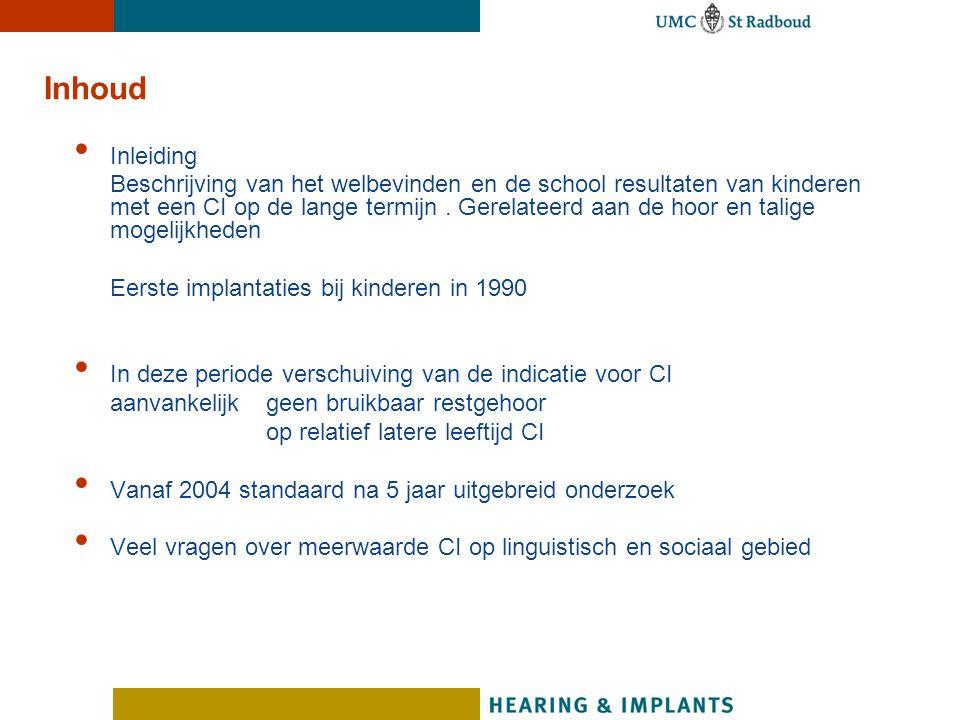 Meerwaarde Bilaterale Implantatie Sommatie van de signalen Betere auditief spraakverstaan in stilte Verbeterd spraakverstaan in ruis Verbetering van leren in formele leersituaties (directe instructie) Verbetering van leren in informele / incidentele leersituaties Auditieve verwerking kost minder energie Dus betere voorwaarden voor het verwerven van linguistische and sociale vaardigheden