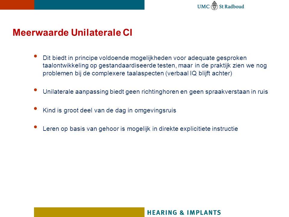 Meerwaarde Unilaterale CI Dit biedt in principe voldoende mogelijkheden voor adequate gesproken taalontwikkeling op gestandaardiseerde testen, maar in