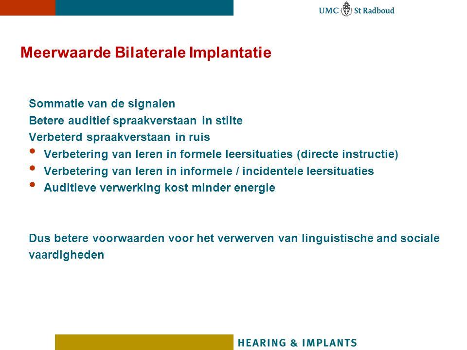 Meerwaarde Bilaterale Implantatie Sommatie van de signalen Betere auditief spraakverstaan in stilte Verbeterd spraakverstaan in ruis Verbetering van l